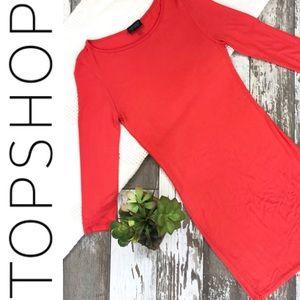 NWOT TOPSHOP Size 8 Orange Stretchy Dress